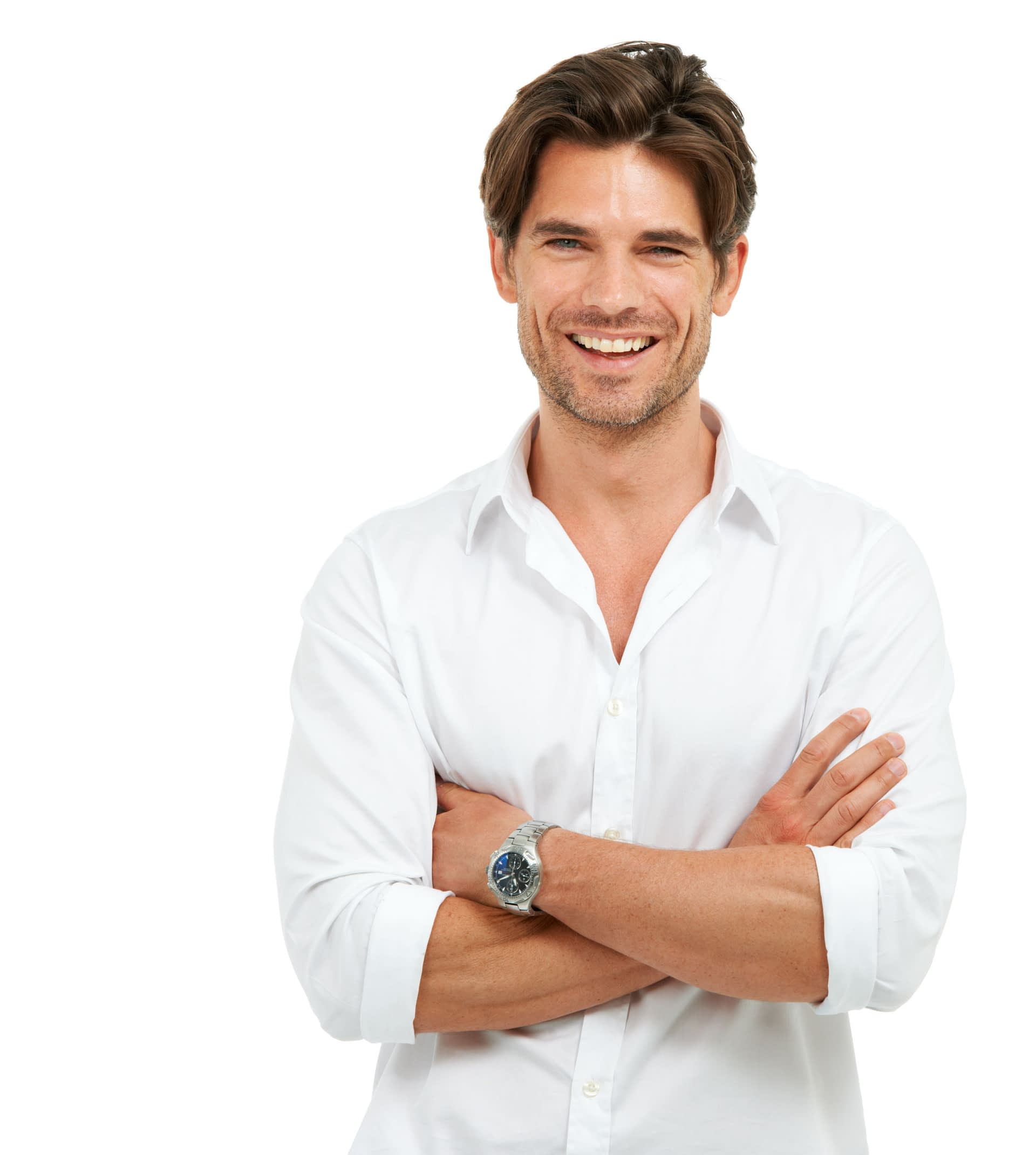 Studio shot of a handsome man standing with his arms crossed and laughing isolated on white