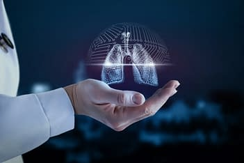 Doctor holding 3D hologram representation of a lung