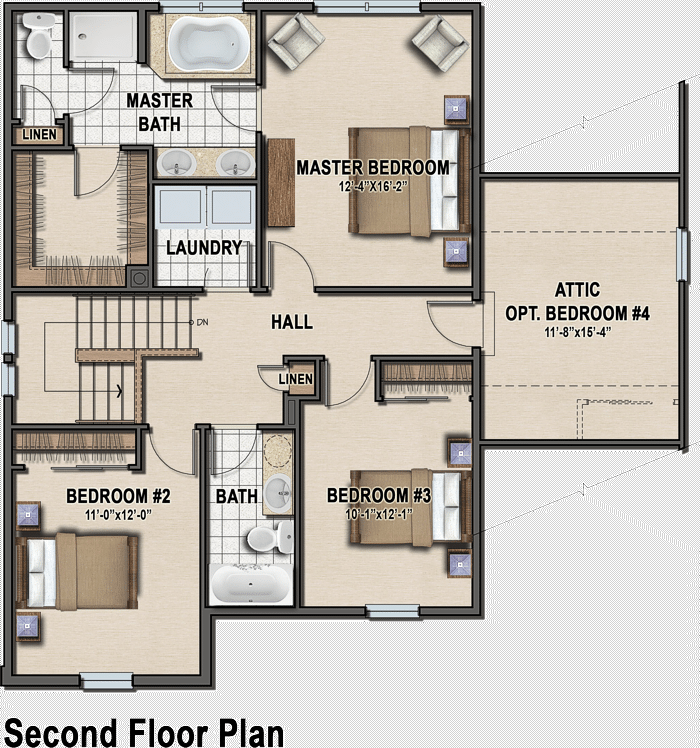 Traditional classic second floor plan