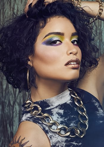 woman with colorful eyeshadow