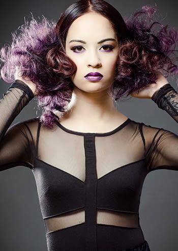 fushia curly hair beauty model