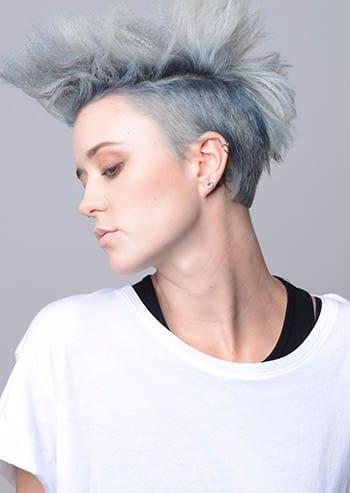 blue short hair beauty model