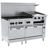 "Vulcan 60SC-6B24GBN Endurance Natural Gas 6 Burner 60"" Range with 24"" Griddle/Broiler, 1 Standard, and 1 Convection Oven - 268,000 BTU"