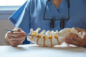 A neurosurgeon using pencil pointing at lumbar vertebra model in medical office