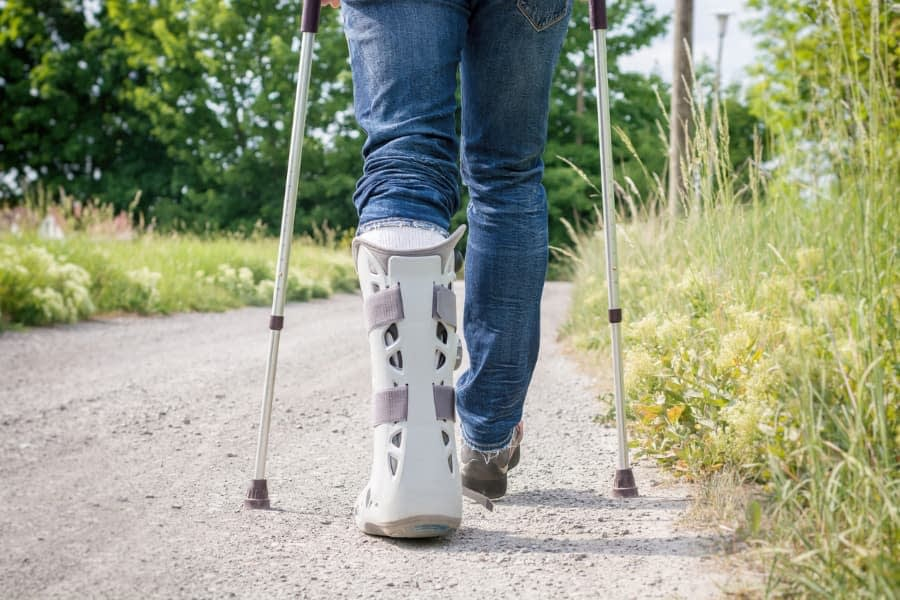 Patient recovering from Achilles tendon repair