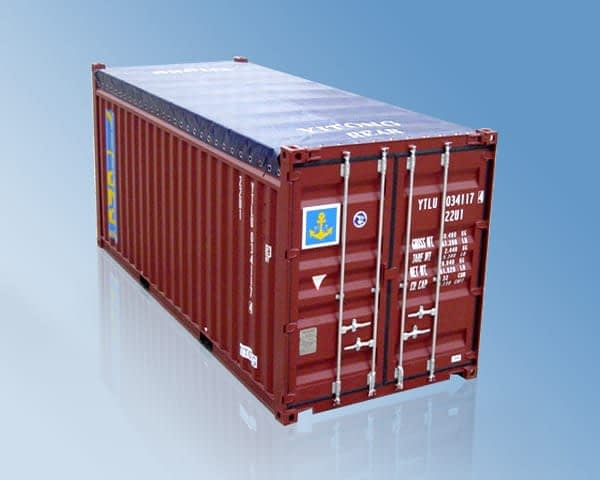 TRS Containers canvas top opentops are suitable for export or movement of odd shaped cargo like lumber and roll of steel