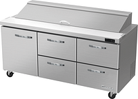"""Blue Air BLPT72-D4RM-HC 72"""" W 4 Drawer 1 Left Door All Stainless Preparation Table with (18) 1/6 Pans-20.2cu.ft."""