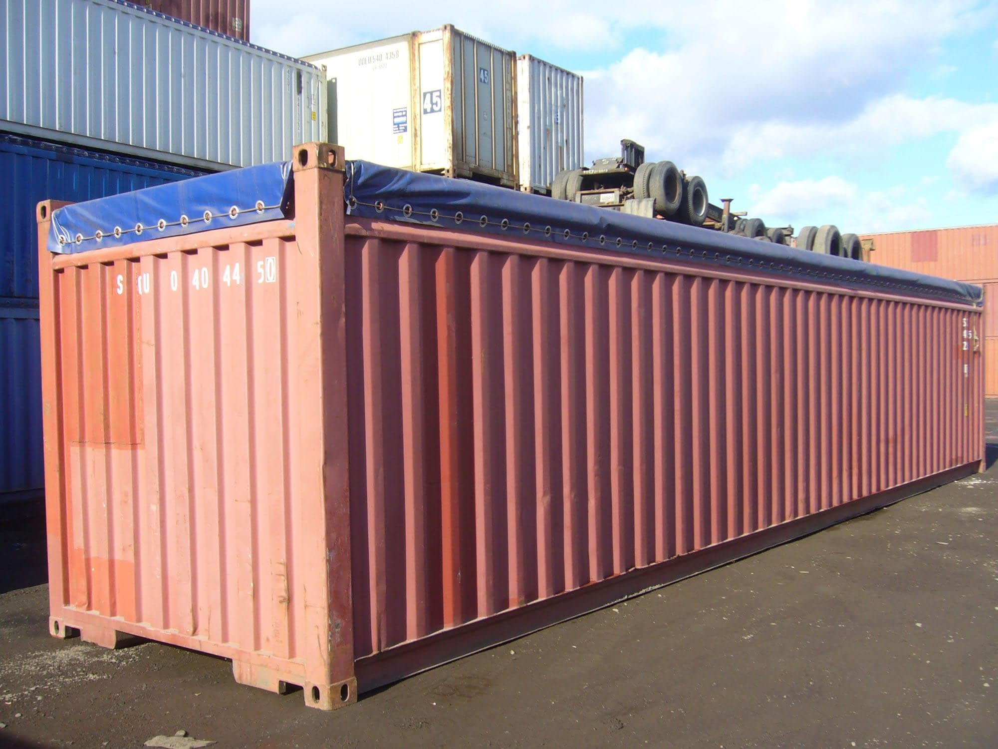 TRS offers 40ft used canvas top opentops for export or domestic use