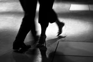 Black and White Sillouette of a Couple Dancing
