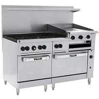 "Vulcan 60SC-6B24GBN Endurance Natural Gas 6 Burner 60"" Range with 24"" Griddle/Broiler, 1 Standard, and 1 Convection Oven - 268,000 BTU"