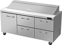 "Blue Air BLPT72-D4RM-HC 72"" W 4 Drawer 1 Left Door All Stainless Preparation Table with (18) 1/6 Pans-20.2cu.ft."