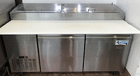"""Pre-Owned Avantco Model 178PICL2 70.75"""" W Two Door Refrigerated Pizza Prep Table"""