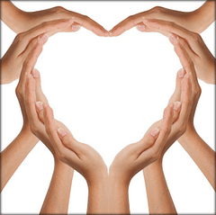 Hands forming a heart.
