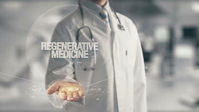 Doctor holding in hand Regenerative Medicine Infographic