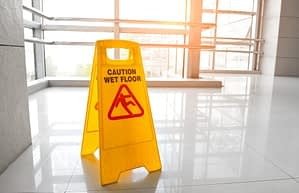 warning wet floor sign