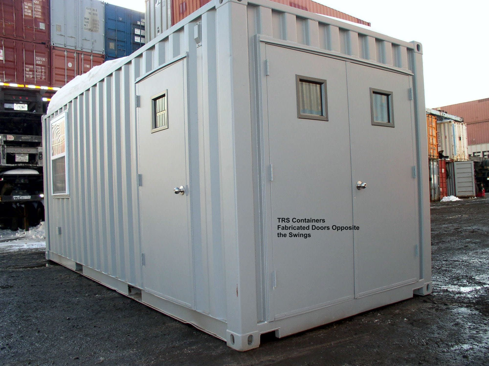 TRS Containers sells and modifies steel ISO cargo containers with additional doors