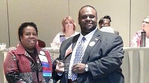 Northwestern College's HIT Faculty Member Christopher Wheat was recently honored with the ILHIMA 2015 Outstanding New Professional Award, shown here at the state awards ceremony with ILHIMA Immediate Past President Theresa L. Jones.