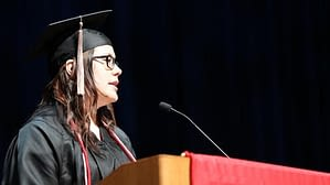 Northwestern College graduate Elizabeth Rivera of McKinley Park addressed the Class of 2015 at the College's 111th Commencement, held at the Arie Crown Theater in Chicago.