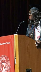 Vivian Afocha, 20, of Chicago's north side presented the student commencement address at Northwestern College's 2016 commencement. Afocha, a Nigerian immigrant in her teens and now a US citizen, earned her Criminal Justice Degree.