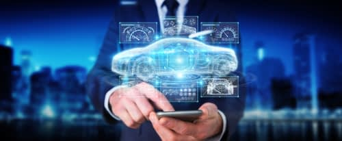 Virtual representation of car projected from cellphone in hands