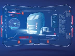 Closeup of monitor analyzing front of diesel truck