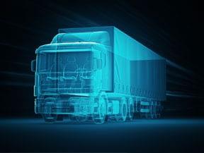 3D virtual rendering of diesel truck in black background