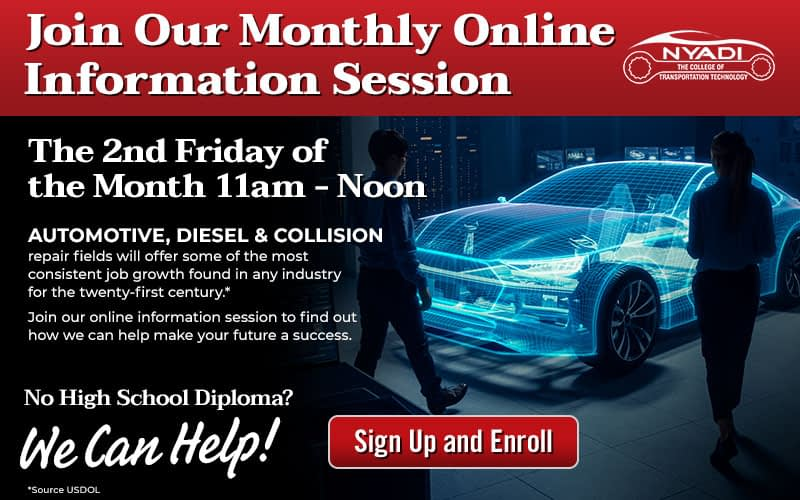 Advertisement for NYADI monthly online information session