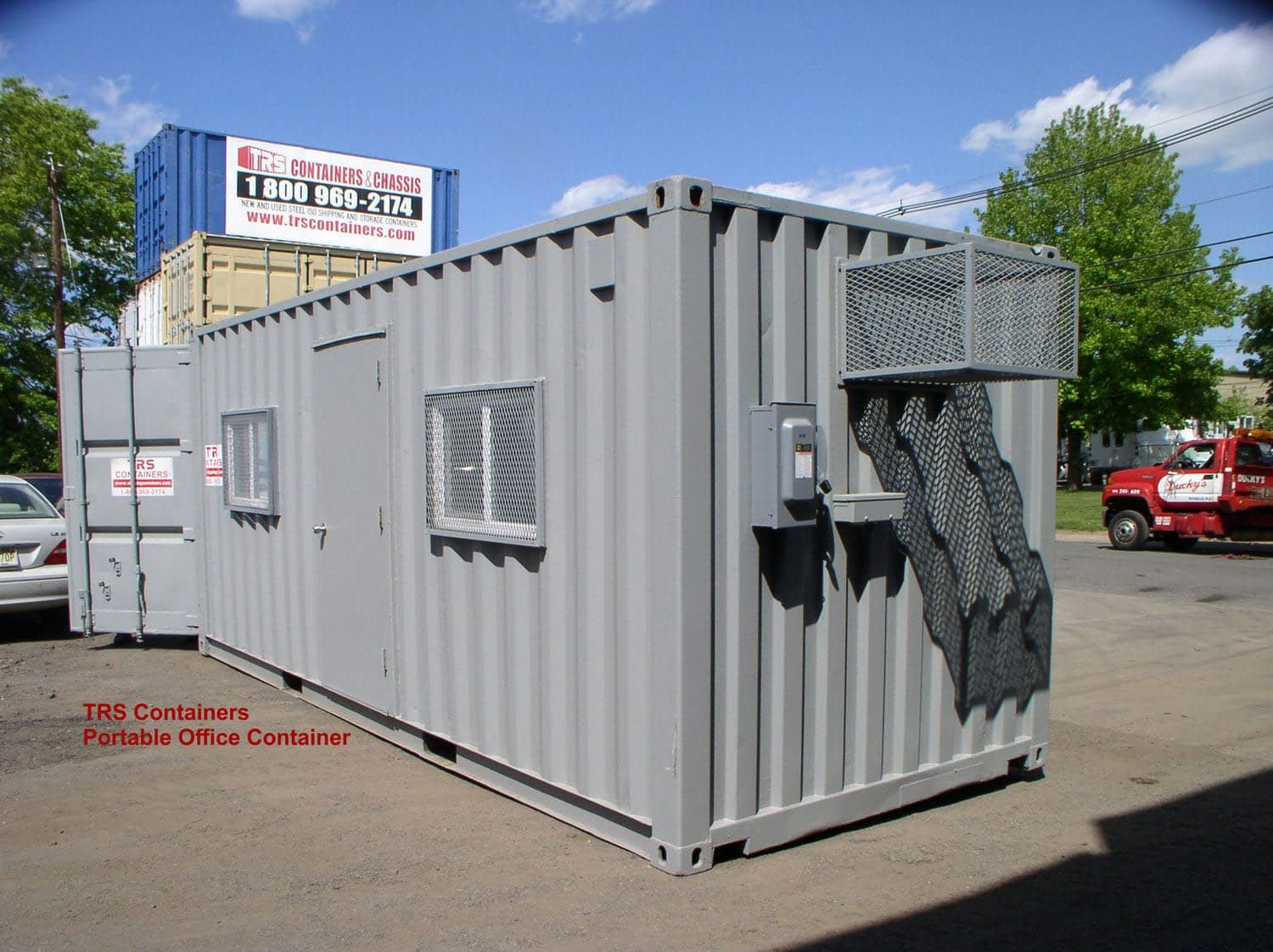 TRS Containers modifies 20 foot long container into portable office space. Equiped for the comfort and safety of staff
