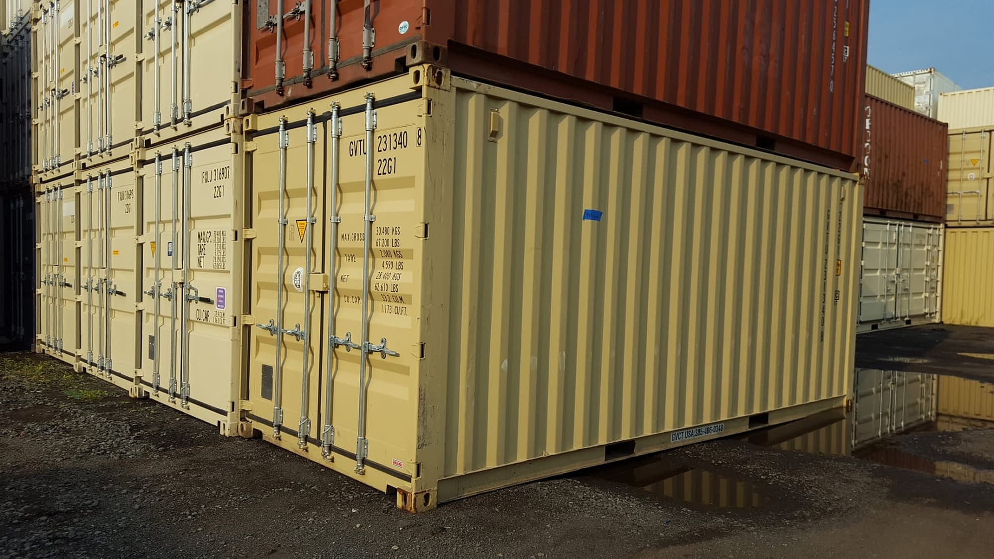 TRS Containers in new condition have lockboxes and fork pockets