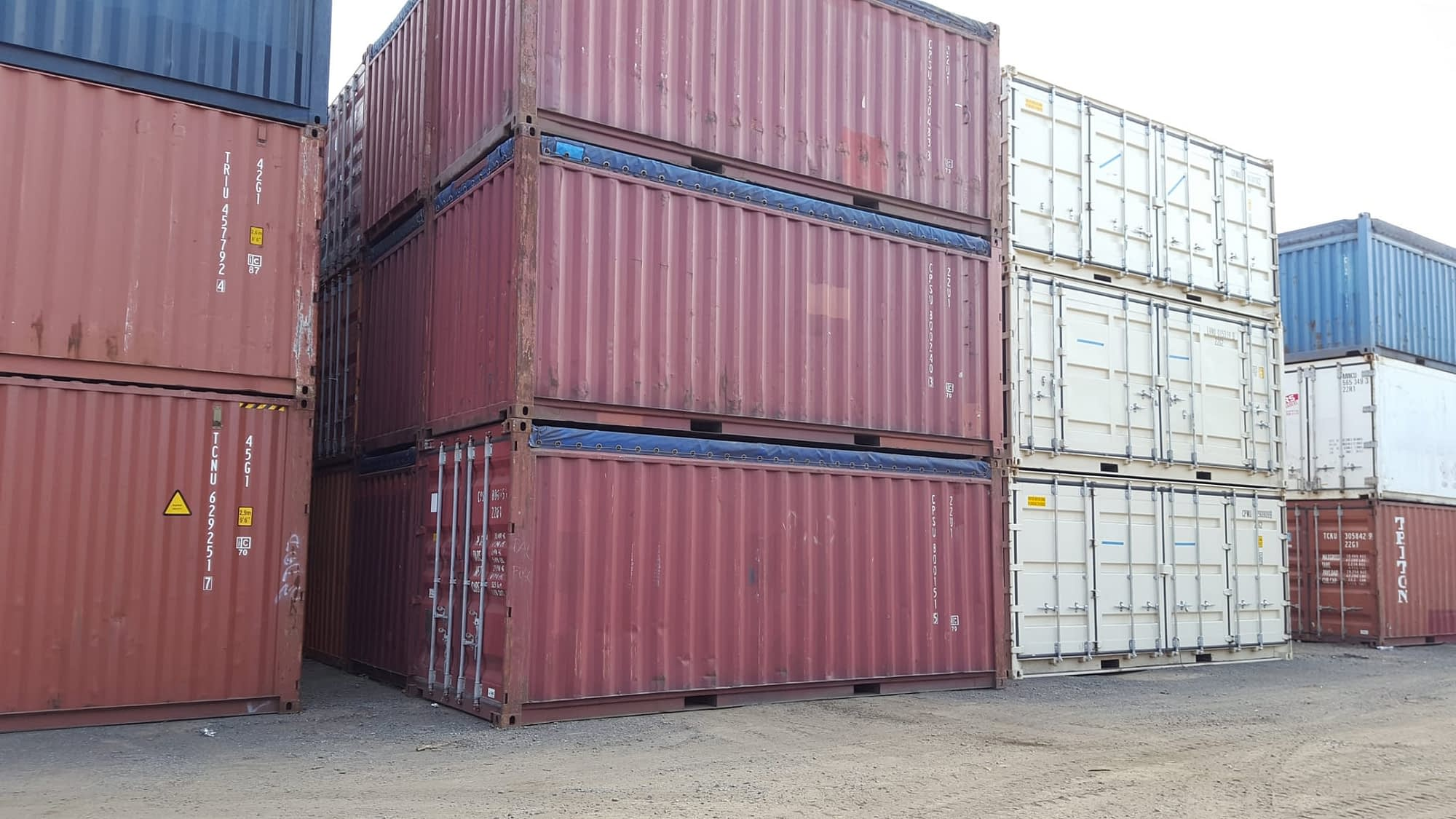 TRS Containers sells and rents used 20 foot long opentops with removable tarps and bows