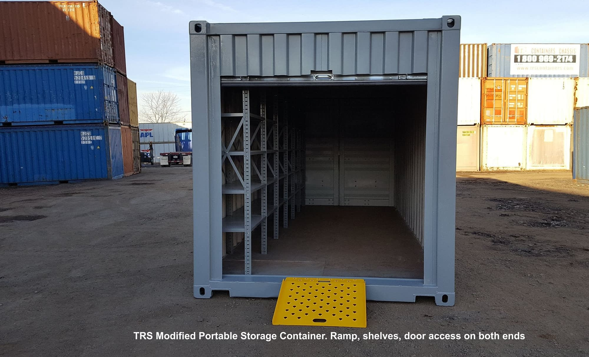 TRS easy access storage unit with shelves.