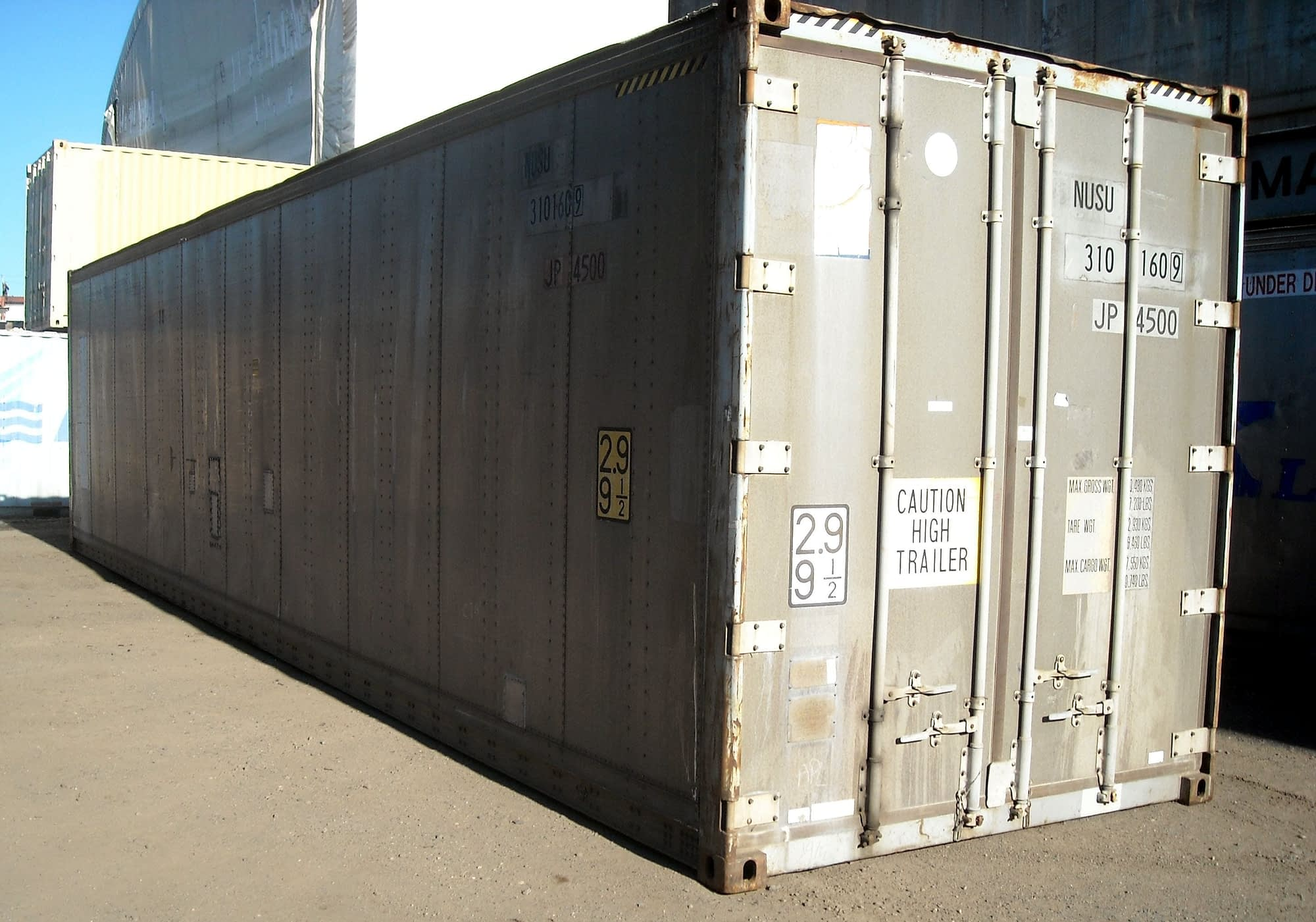TRS' aluminum highcube containers have plywood lining