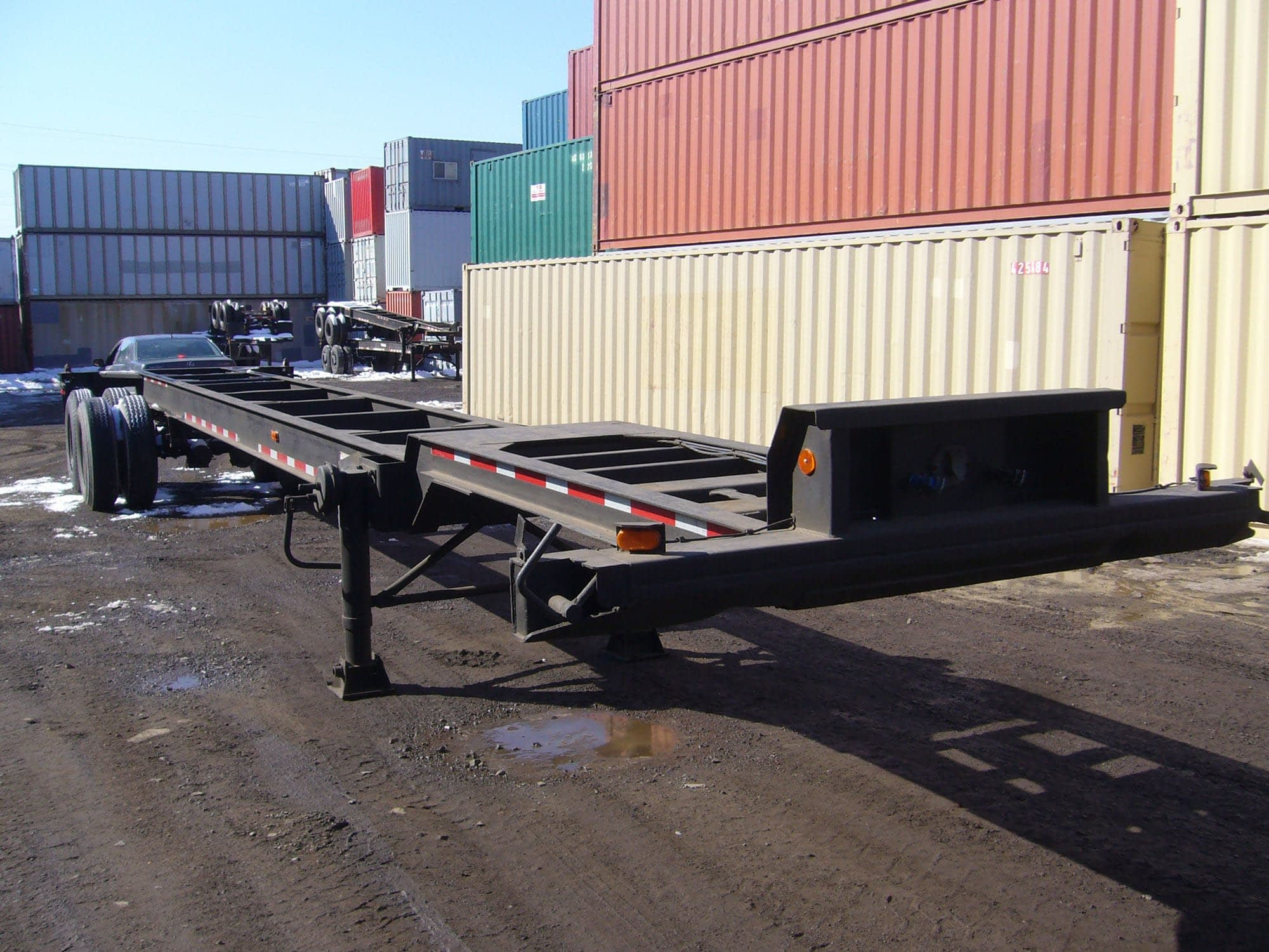 TRS Containers sells and rents new and used 40 foot long gooseneck chassis