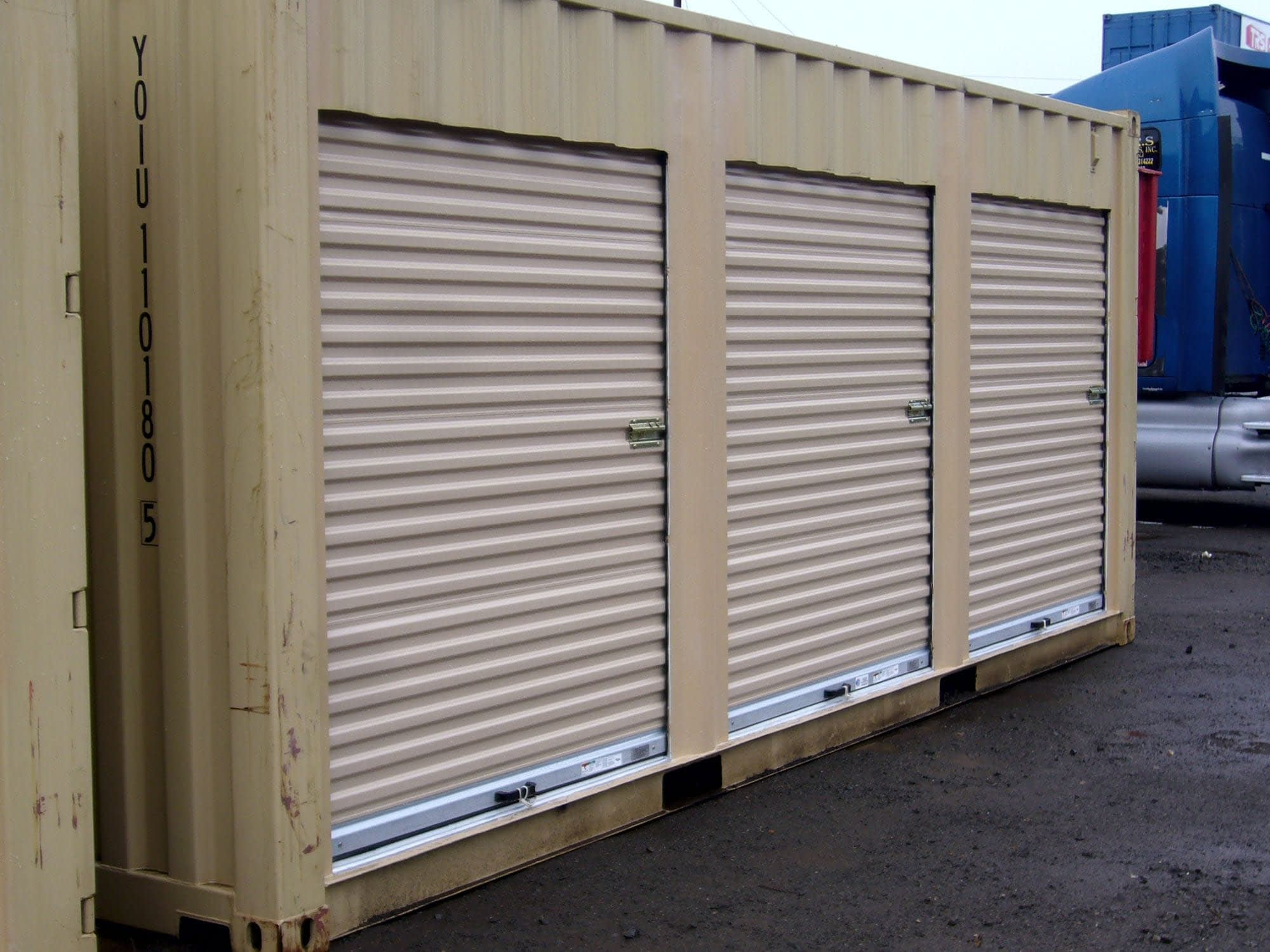 TRS Containers isntalls doors and partitions for mini-storage or military personnel