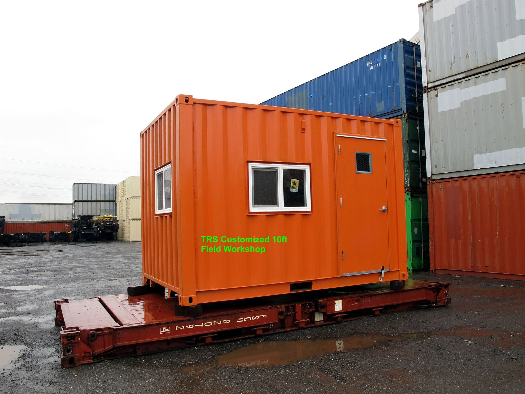 TRS converted a 20ft into a 10ft long used shipping container. Now it is a field office.
