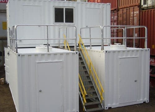 TRS Containers pre-fabricates steel container structures with stairs, ramps, hatches ladders mezzanines and more
