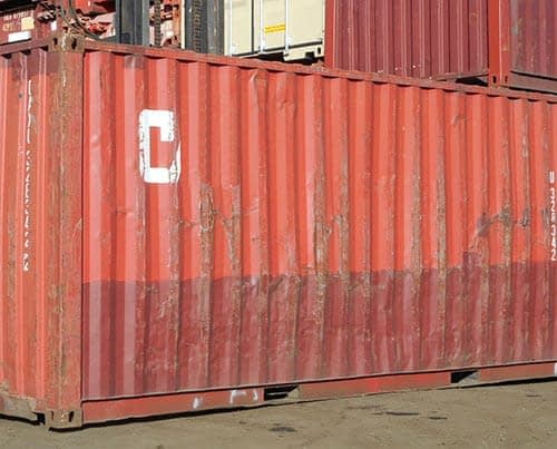 TRS Containers yard has used basic 20 foot long steel containers for sale