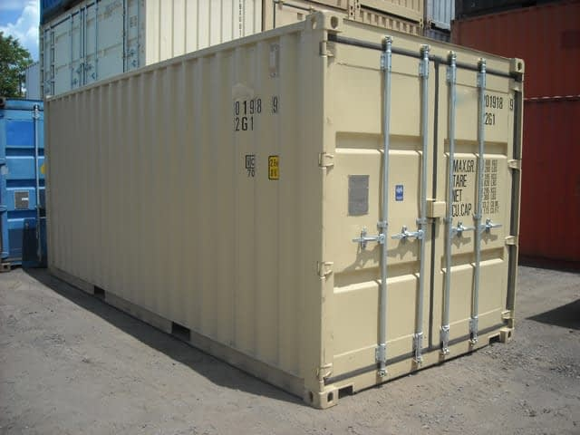 TRS Containers inventory includes new one-trip 20 foot long conex containers with high door handles, corten steel, lockboxes