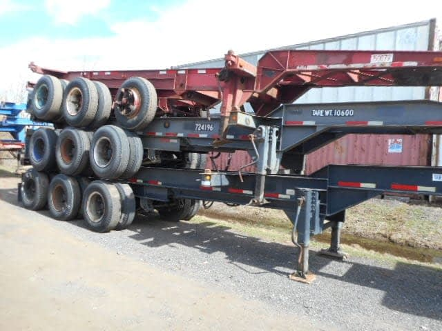 TRS sells rents repairs transports and stacks 20 foot long tri-axle chassis