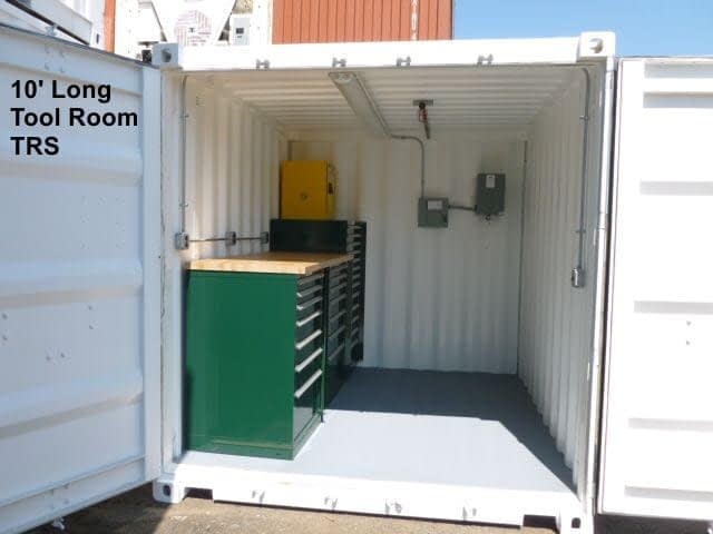 TRS Containers NJ sells Steel ISO Containers outfitted as work shops, welding shops, Field offices