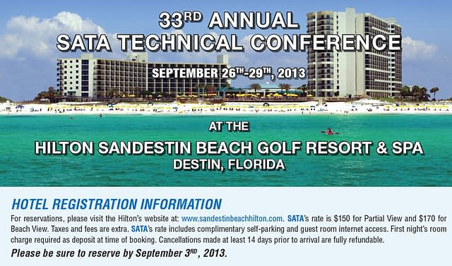 33rd Annual SATA Technical Conference is coming up on September 26th –29th