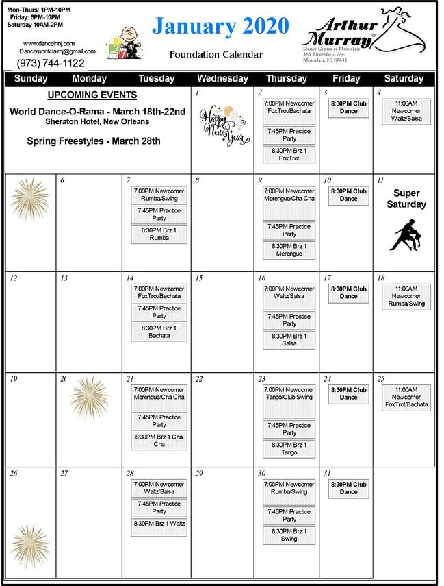 Montclair Dance Class Calendar