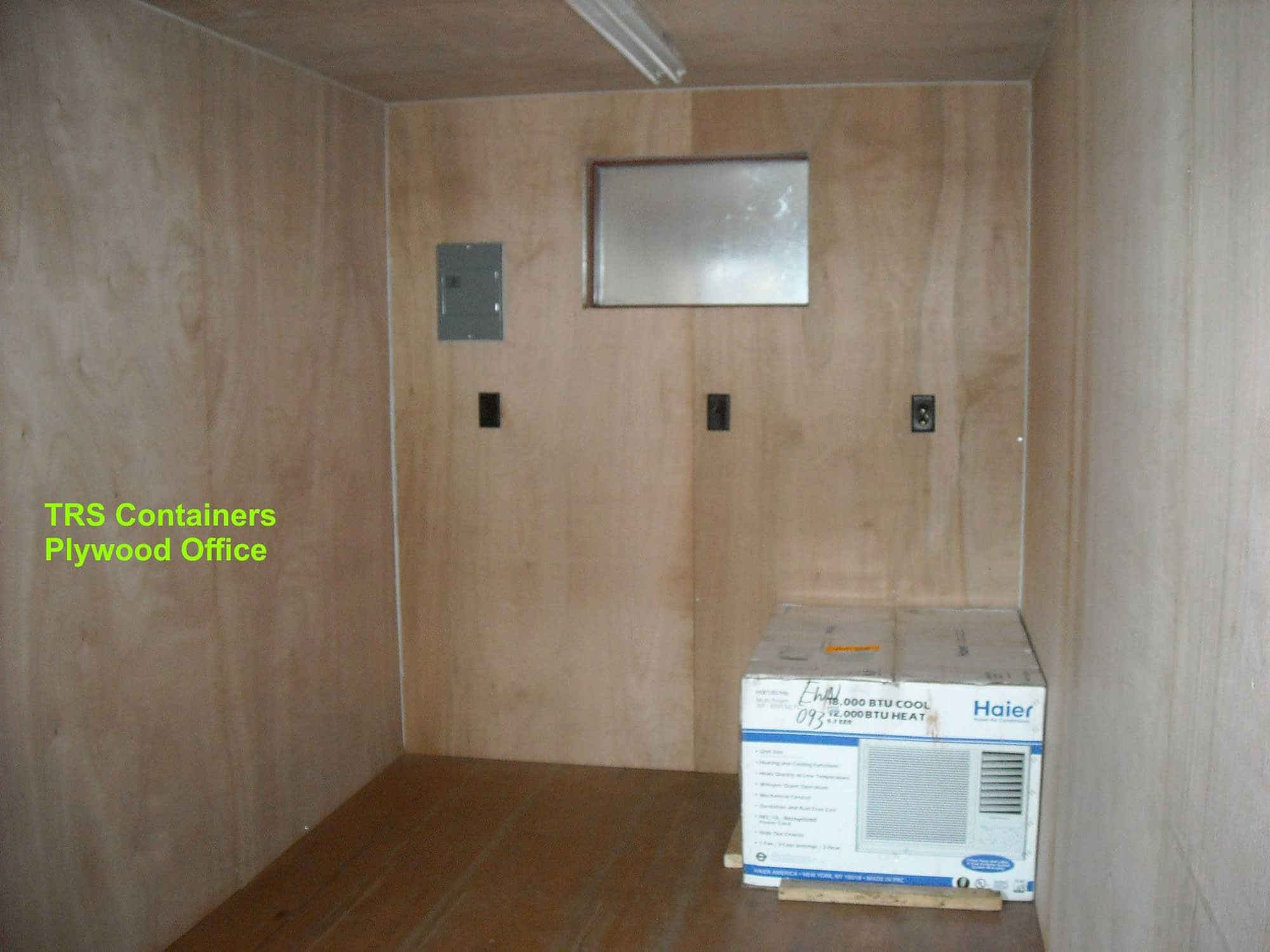 TRS Containers basic plywood lined outfitted office workspace