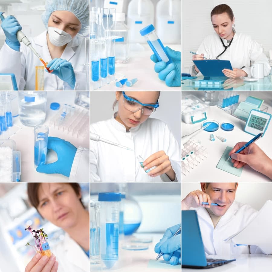 Cancer experts working in a lab