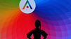 An outline of a woman with large earrings against a rainbow colored LED board with the aveda logo