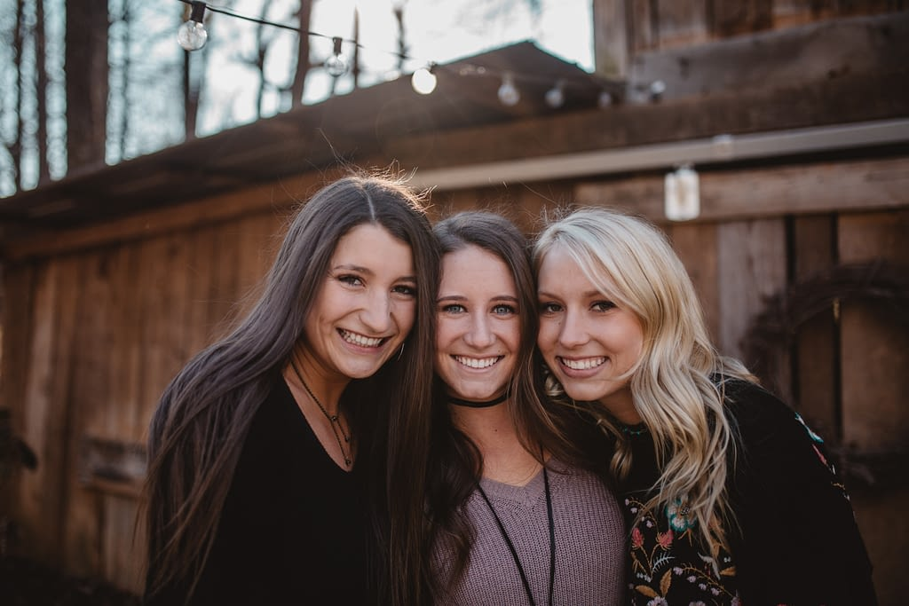 support system of friends. three girls together.