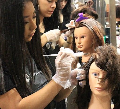 aveda las vegas students practicing hair coloring