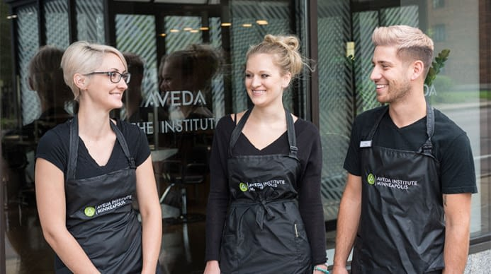 Students standing outside of the Aveda Salon Institute Las Vegas