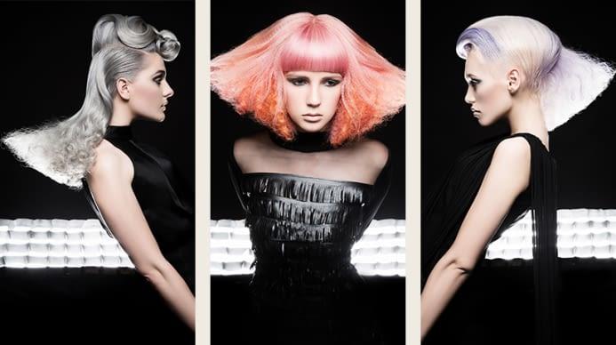 Three aveda models showcasing their stunning editorial hair.