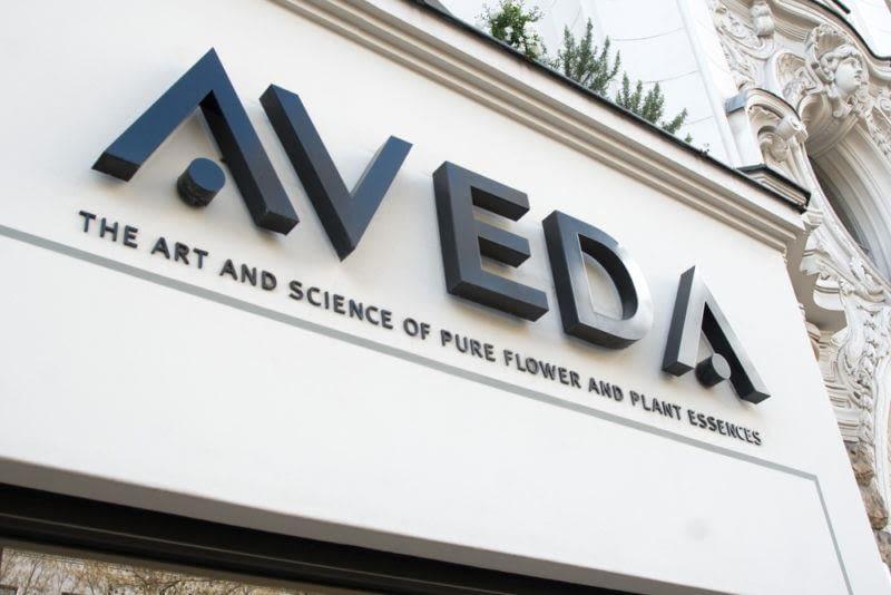 Aveda school sign, exterior, daytime
